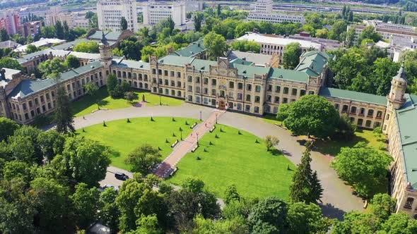Thumbnail for Aerial Footage Orbiting Kiev Polytechnic Institute with Sunshine During Summer. Main Campus of KPI