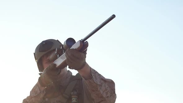 Thumbnail for Military Sniper Takes Aim at the Optical Sight. Airsoft