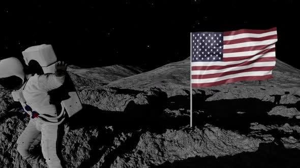 Thumbnail for Astronaut Planting Usa Flag on the Moon