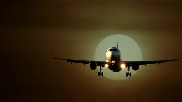 Thumbnail for Modern Airplane Airliner Landing at Airport at Sunset