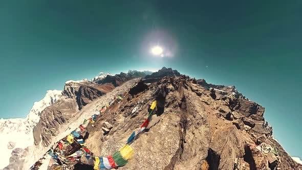 Thumbnail for Gokyo Ri Mountain Top. Tibetan Prayer Buddhist Flag. Wild Himalayas High Altitude Nature and Mount
