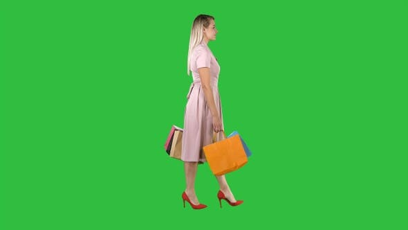 Thumbnail for Happy pretty girl holding walking with shopping bags on
