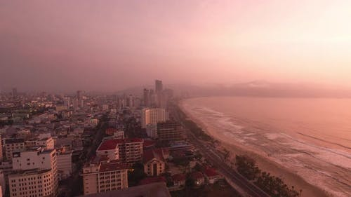 Timelapse Shot of DaNang City Vietnam with View of My The Beach From Dawn to Sunrise