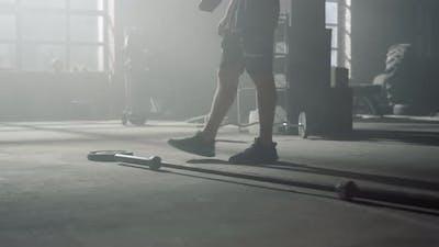 Man Walking in Crossfit Gym