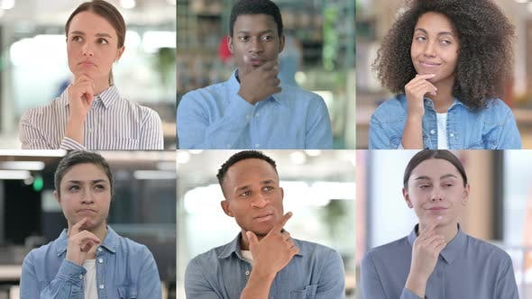 Collage of Multiple Race People Doing Brainstorming Thinking