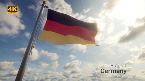 Germany Flag on a Flagpole - 4K