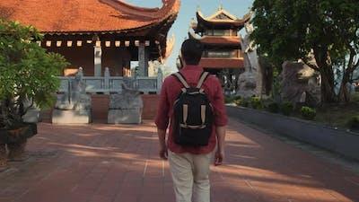 Travelling in Vietnam Tourist in Buddhist Temple