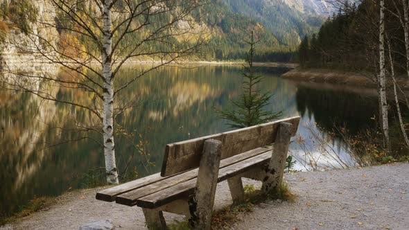 Old Bench On A Langbathsee Lake