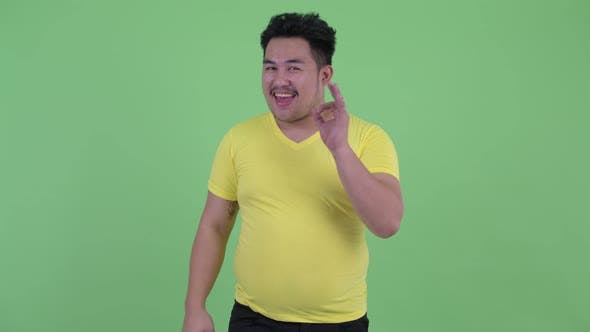Thumbnail for Happy Young Overweight Asian Man with Ok Sign
