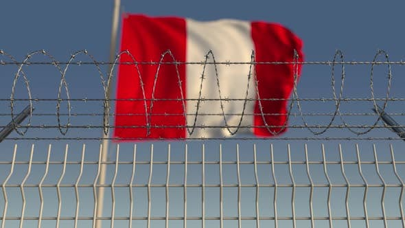 Thumbnail for Flag of Peru Behind Barbed Wire Fence