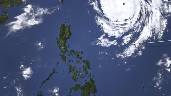 Plane Arrives To Manila Philippines