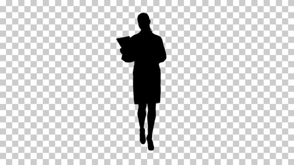 Thumbnail for Silhouette Happy female doctor using tablet computer turning