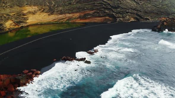 Black Beach El Golfo on Lanzarote Canary Islands Spain