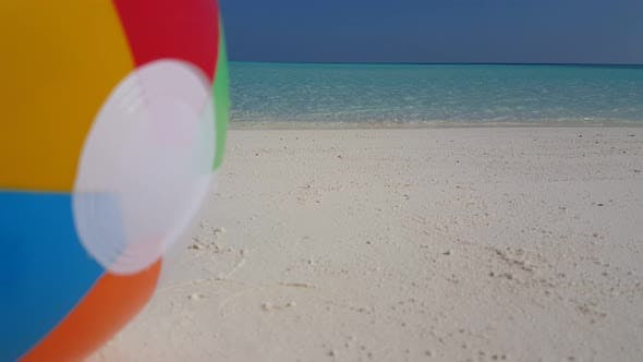 Thumbnail for Beautiful flying clean view of a white sandy paradise beach and blue water background in 4K
