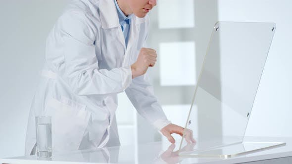 Thumbnail for Caucasian Doctor Working on Invisible AR Interface