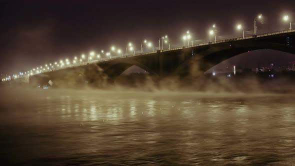 Road Bridge and Rising Mist Over River Yenisei in the Night Light, Krasnoyarsk