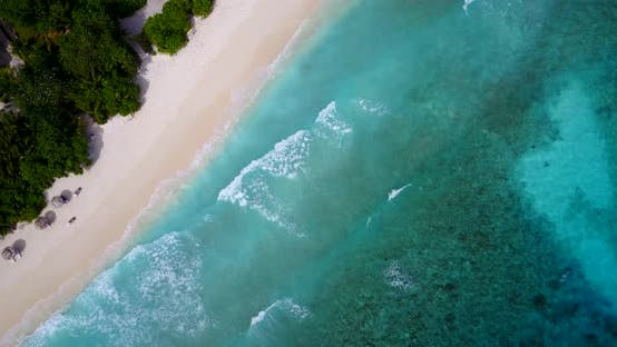 Thumbnail for Tropical above abstract shot of a summer white paradise sand beach and blue ocean background