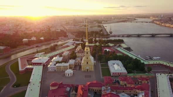 Aerial View of Petropavlovskaya Krepost of Saint-Petersburg. Sunlight Flare