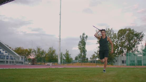 Javelin Thrower Before a Throw. Concentration and Exhalation. Excitement and Fear Before the Throw