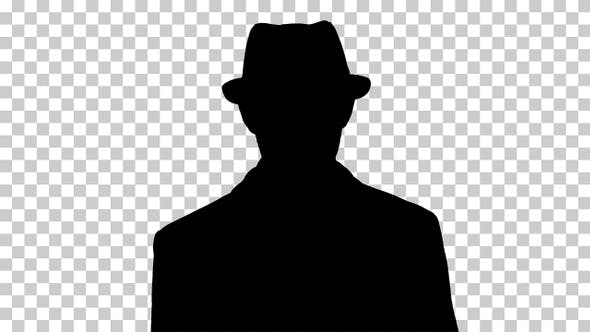 Thumbnail for Silhouette man in hat walking, Alpha Channel