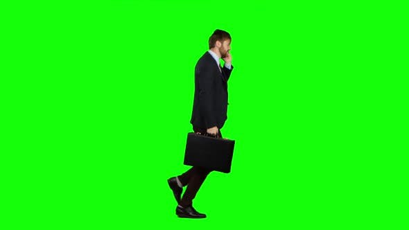 Thumbnail for Man Is Running To Work, Understands That He Is Late and Begins To Run. Green Screen