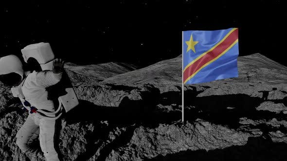 Astronaut Planting Congo Flag on the Moon