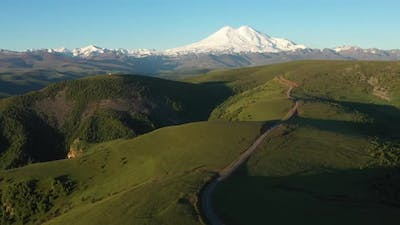 Aerial view of the highest mountain in Europe, Elbrus