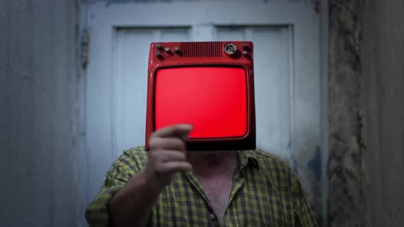 Thumbnail for Retro TV Red Screen on the Head of a Man.