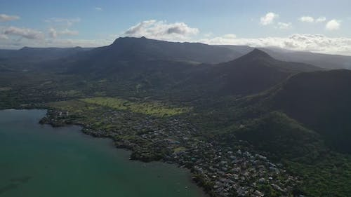 Aerial View of Mountains on the Coast of Mauritius Island