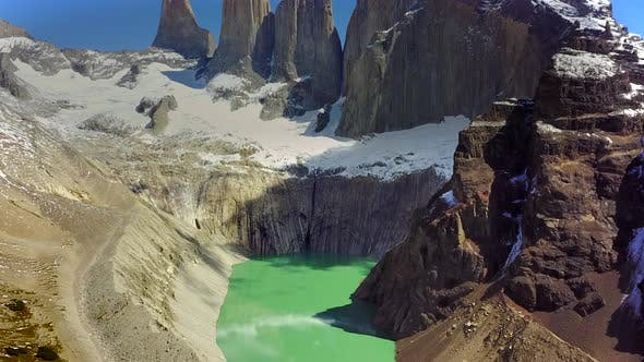 Aerial view of mountains and lake in Torres del Paine national park, Chile.
