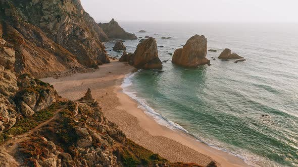 Thumbnail for Aerial Drone Footage of Praia Da Ursa Beach in Sunset Light. Sintra, Portugal