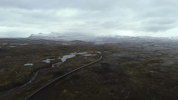 Thumbnail for Aerial View Of Arctic North Landscape In Iceland