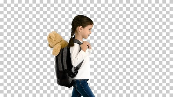 Thumbnail for Cute little girl walking to school with, Alpha Channel