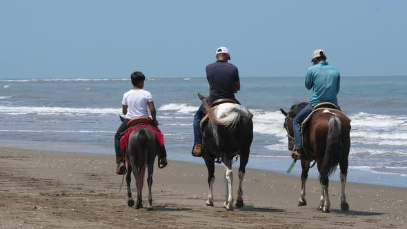 Thumbnail for Country Family Riding Horse on the Seashore