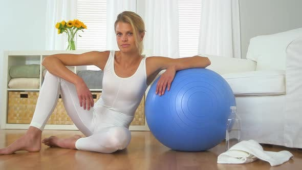 Thumbnail for Healthy woman with balance ball