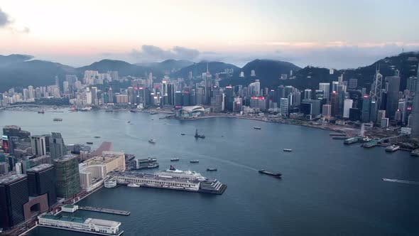 Timelapse Hong Kong with Illuminated Districts at Twilight