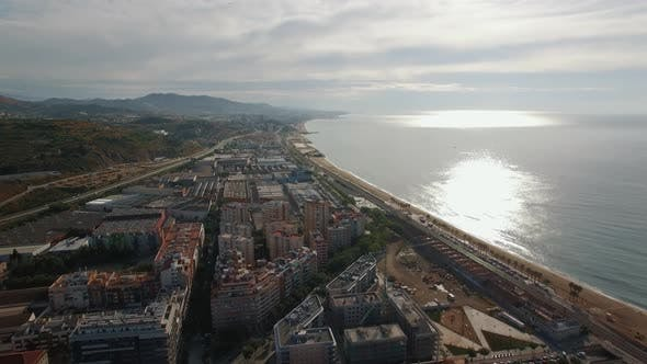 Thumbnail for Aerial View of Landmarks with Beach Sea Buildings Barcelona Spain