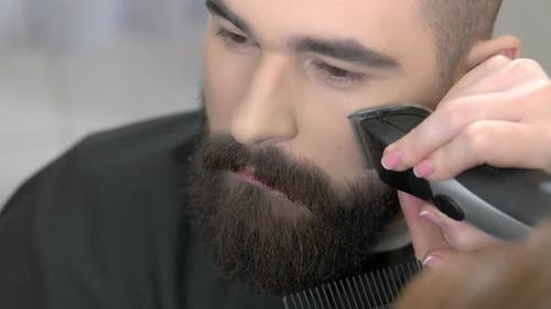Beard Grooming Process Close Up
