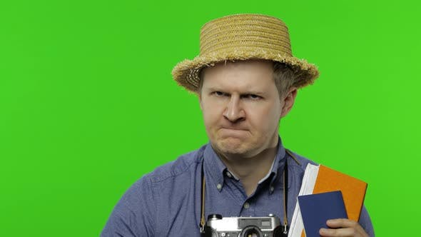 Thumbnail for Portrait of Tourist Waiting for Something with Passport and Tickets. Chroma Key