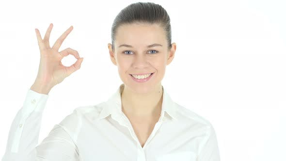 Thumbnail for Okay Sign by Woman, White Background