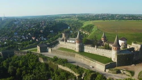 Aerial View of the Ruins of a Large Medieval Castle in Europe