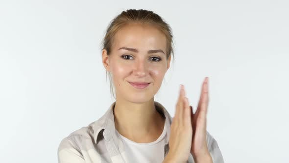 Thumbnail for female Girl Student Clapping, applaud, White Background