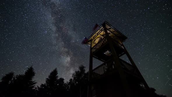 Thumbnail for Stars Sky with Milky Way Galaxy over Lookout Tower
