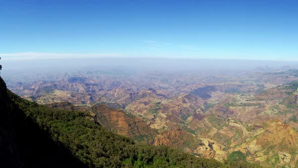 Thumbnail for Panoramic on the Ethiopian plain and rift valley from the Simien Mountains Ethiopia Africa