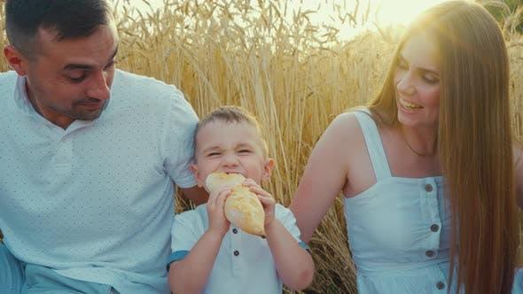 Boy Eating Bread Near Parents at Picnic