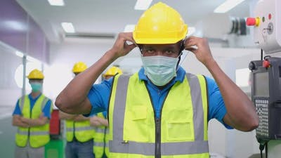 3620 African American Factory Worker Ware Mask Portrait
