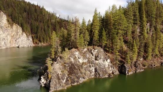 Flying Around River Landscape