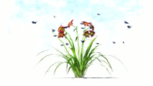 Flower and Butterflies Stop Motion