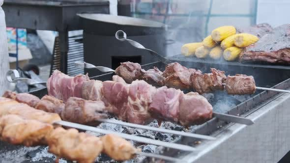 Thumbnail for Shish Kebab on Skewers Is Cooked on Barbecue at a Street Food Festival