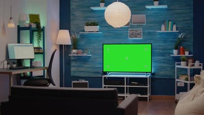 Nobody in Living Room with Green Screen Display